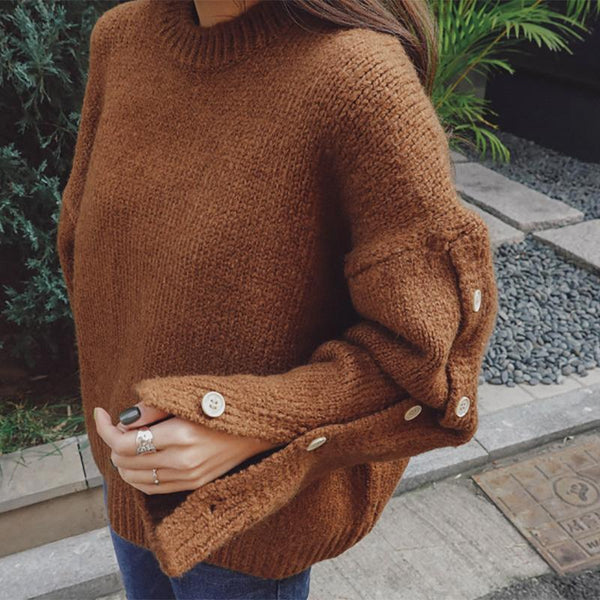Casual Thickening Long Sleeve Pure Colour Knitwear