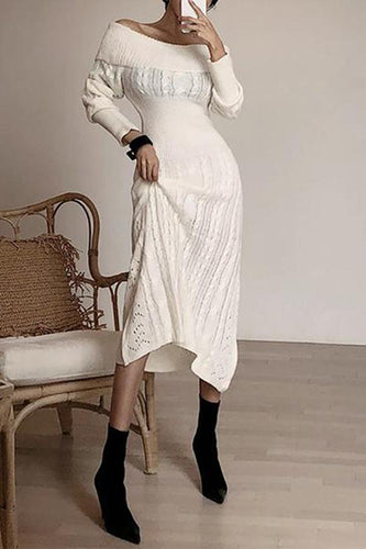 Fashion Off-Shoulder Pure Colour Slim Knitted Dresses