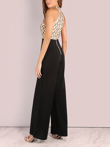 Fashion Sleeveless Sequins Splicing Jumpsuits