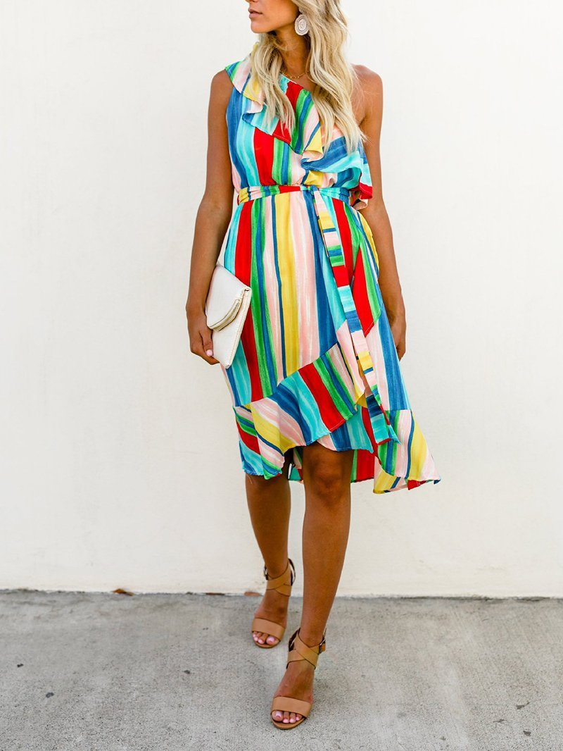 Fashion Sloping Shoulder Rainbow Irregular Belted Dresses