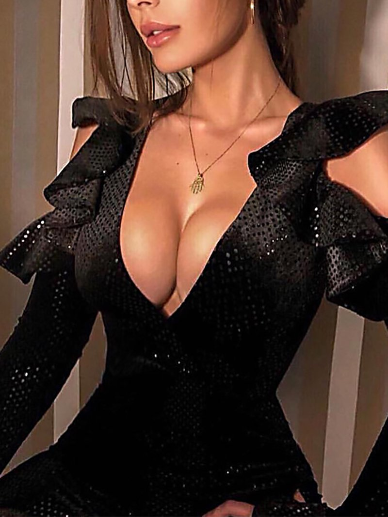 Fashion Hollow Out Bell Sleeve Deep V Sequins Bodycon Dresses