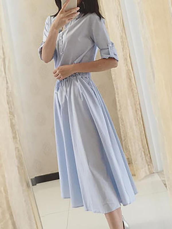 Fashion Pure Colour Belted Long Sleeve Shirt Dresses