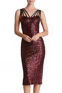 Sexy Bare Back Sequins Sleeveless Bodycon Dresses