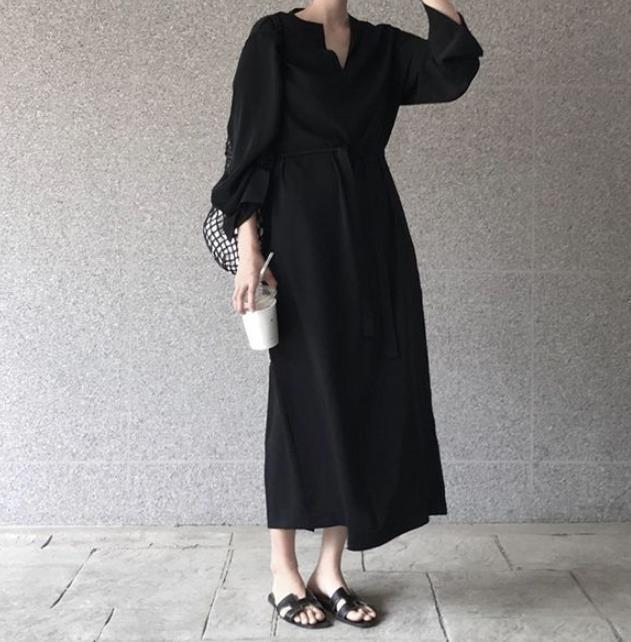 Casual Pure Color V Neck Show Thin Maxi Dress