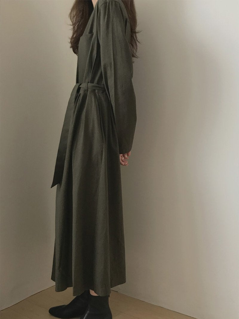 Vintage V Neck Pure Colour Loose Belted Maxi Dresses