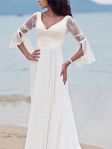 Fashion V Neck Lace Pure Colour Maxi Dresses