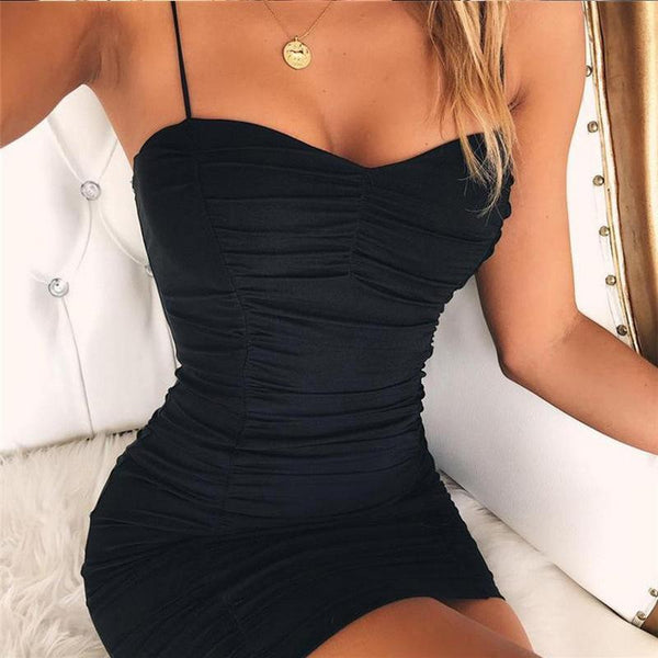 Sexy Pure Color Suspenders Fold Dress