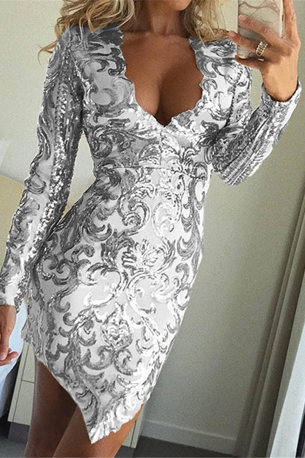 Sexy Deep V Neck Sequined Dress