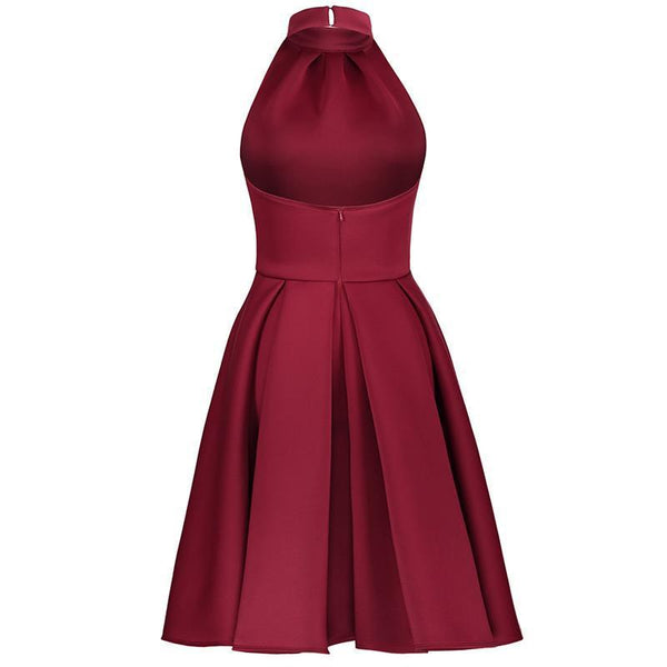 Sexy Solid Color Backless Sleeveless Skater Dress