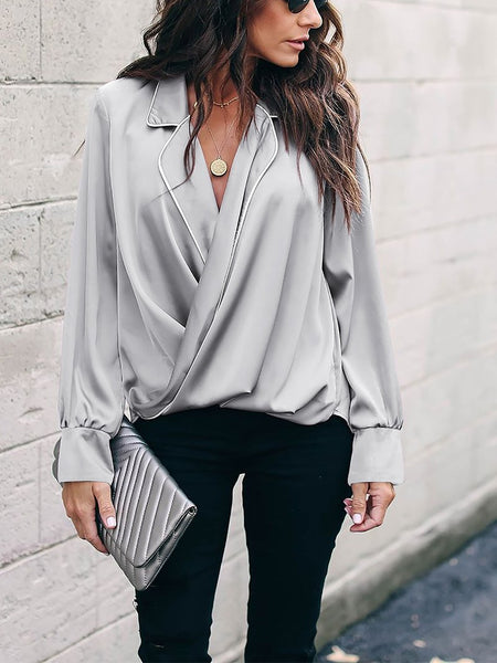 Fashion V Neck Turndown Collar Pure Colour Shirt