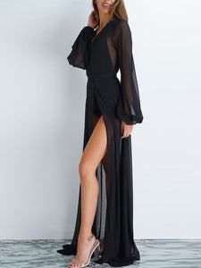 Sexy Deep V Pure Colour Slit Gauze Cardigan Dresses
