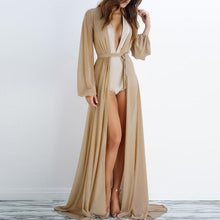 Load image into Gallery viewer, Sexy Deep V Pure Colour Slit Gauze Cardigan Dresses