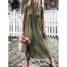 Load image into Gallery viewer, Fashion V Collar Plain Loose Maxi Dress