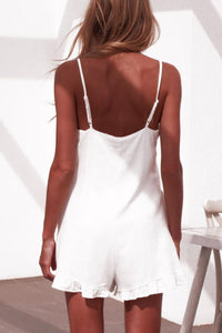 Spaghetti Strap  Single Breasted  Plain  Sleeveless  Playsuits