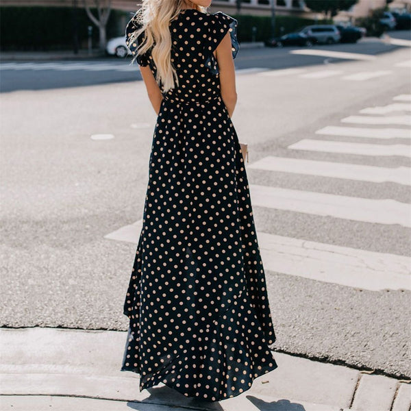 Sexy Deep V Collar Polka Dot Printed Belted Vacation Dress