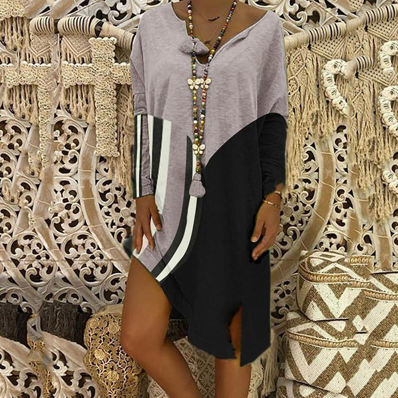 Casual Contrast Color Long Sleeve V Neck Dress