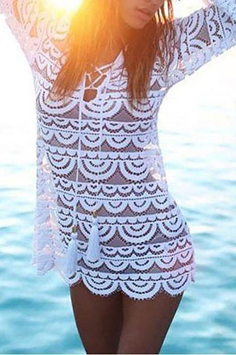 Female Sexy Hollow Pure Lace Long-Sleeved Beach Vacation Dress