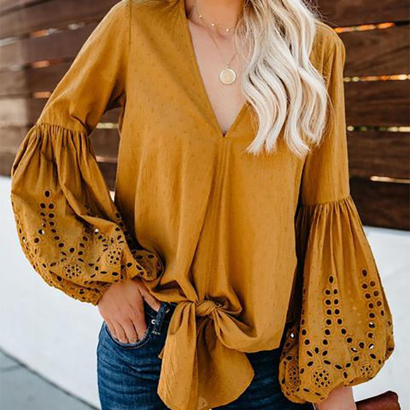 Sexy Bishop Sleeve Pure Colour Hollow Out V Neck Shirt