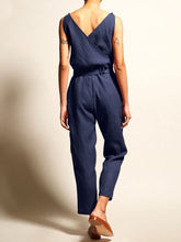 Load image into Gallery viewer, Commuting V Neck Belted Sleeveless Bare Back Jumpsuits