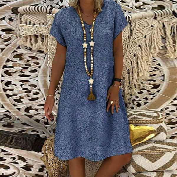 Fashion Print V-Neck Short Sleeve Dress