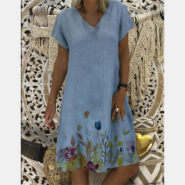 Fashionable V-Neck Printed Short Sleeve Dress