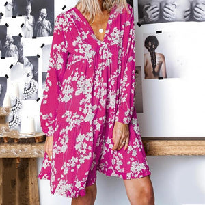 Eisure V Collar Long-Sleeved Printed Dress