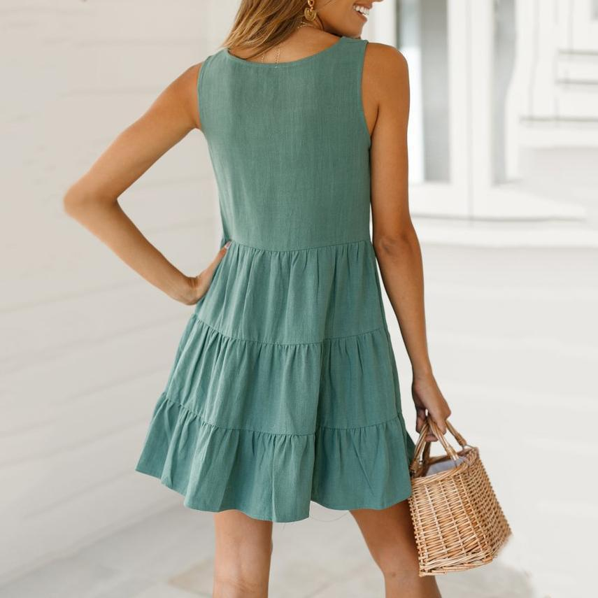 Fashion Casual V-Neck Solid   Pleated Dress