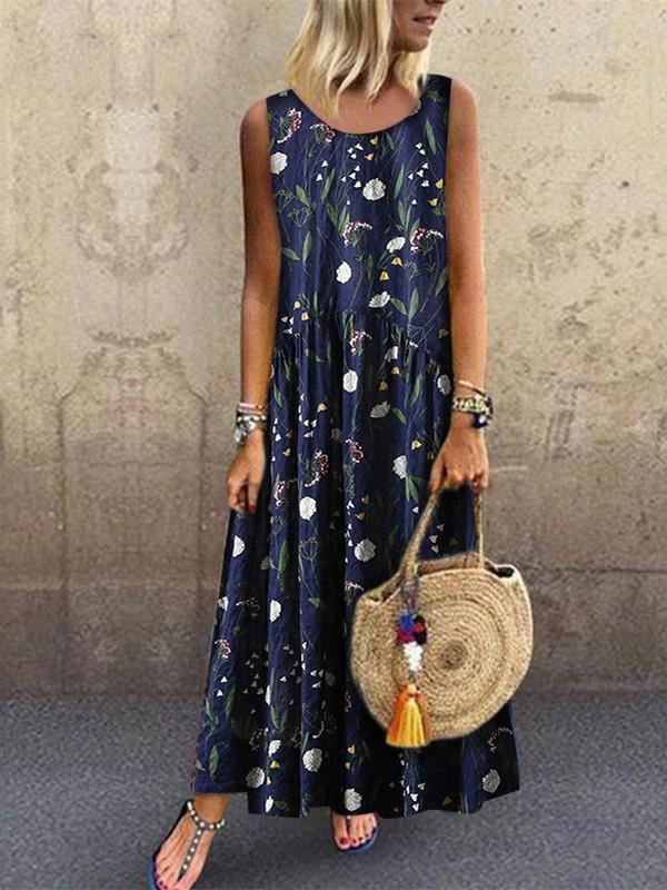 Fashion Floral Stitching Round Neck Sleeveless Maxi Dresses