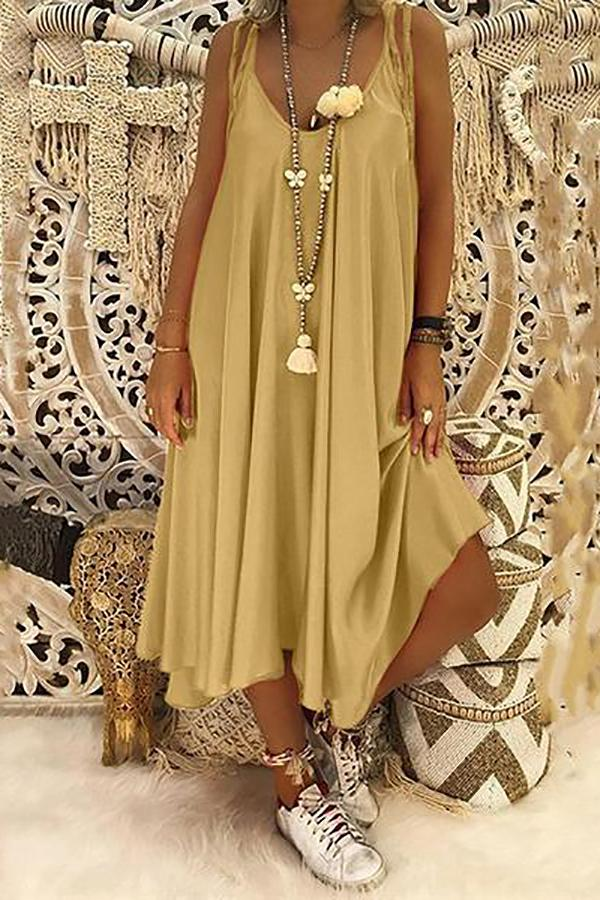 Casual Belted Round Neck Sleeveless Off-Shoulder Bare Back Dress