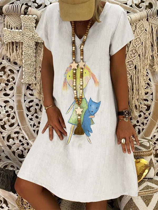 Fashion V-Neck Print Short-Sleeved Dresses