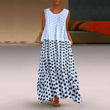Load image into Gallery viewer, Fashion Polka Dot Round Neck Sleeveless Dresses