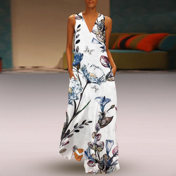 Printed Deep V Collar Sleeveless Long Dress