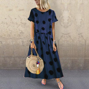 A Casual Dot Print Short-Sleeved Dress