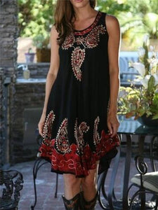 Fashion Printed Round Neck Sleeveless Loose Dresses