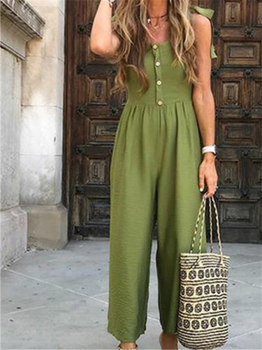 Sexy V-Neck Single-Breasted Solid Color Sleeveless Loose Jumpsuits
