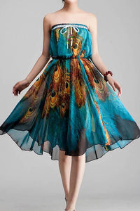 Casual Peafowls Printed Colour Elastic Belted See-Through Chiffon Vacation Dress