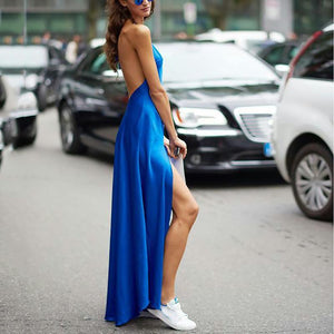 Sexy Sleeveless Bare Back Off-Shoulder Slit Pure Colour Vacation Dress