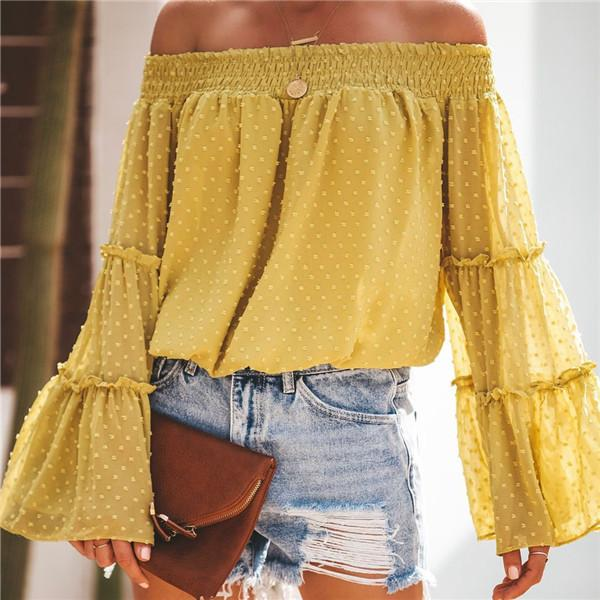 Sexy One Word Collar Bell Sleeve Blouses