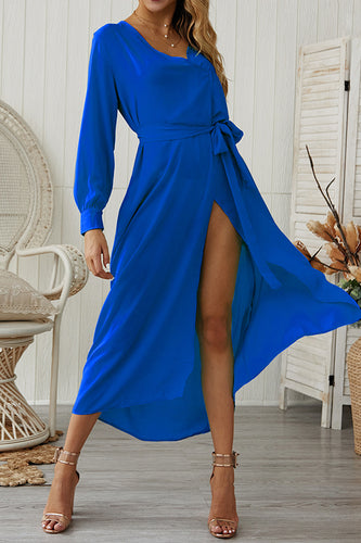 Sexy Pure Color V Collar Open Slit Vacation Dress