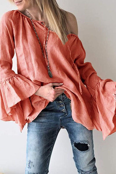 Solid Color Loose Horn Sleeve Blouses