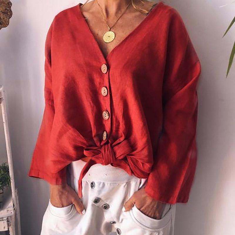 Casual Pure Color V-Neck Blouses