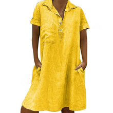 Load image into Gallery viewer, Commuting Turndown Collar Short Sleeve Pure Colour Dress