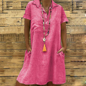 Commuting Turndown Collar Short Sleeve Pure Colour Dress