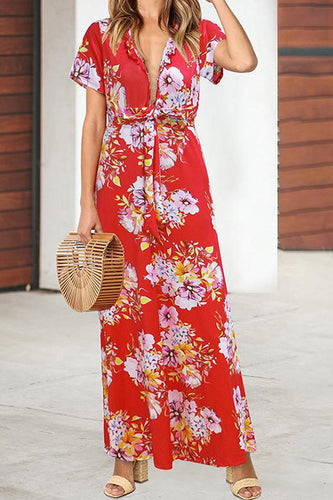 Leaf Edge V Collar Print Vacation Dress