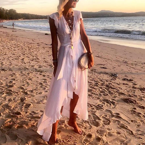 Casual Ruffled Belted V Neck Beach Loose Vacation Dress