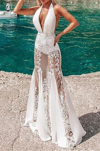 Sexy Deep V Neck Sleeveless Vacation Embroidery Evening Dresses