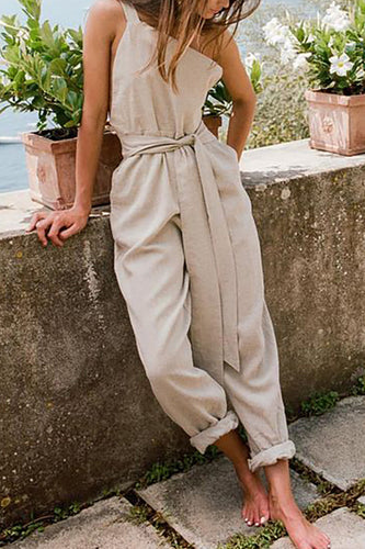 One-Shoulder Sleeveless Belt Cotton And Linen Jumpsuit