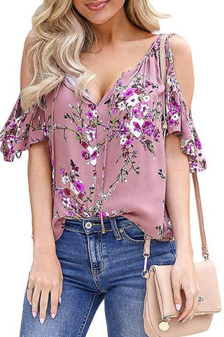 Casual V Neck Off-Shoulder Printed Colour Loose T-Shirt