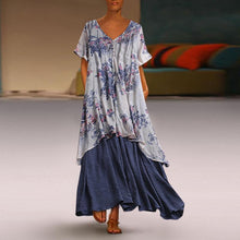 Load image into Gallery viewer, Summer Patchwork Print Plus Size Vintage Maxi Dress With Pockets