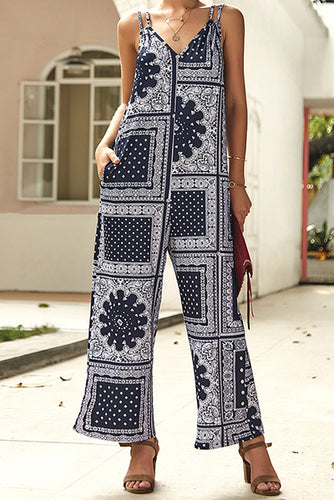 Casual Bohemian Suspenders With Printed Jumpsuits